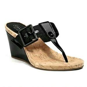 Coach Bernadette Black Patent T Strap Wedge Sandal